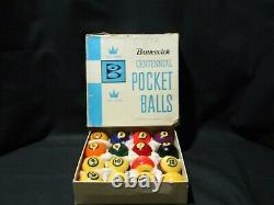 Vintage Brunswick Centennial Precision Balanced Pool Balls Complete Set