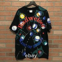 Vintage Budweiser Tee Shirt Billiards Pool Ball Mens Large Wild Oats