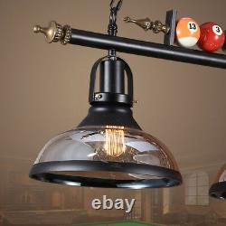 Vintage Metal Ball Design Pool Table Light Billiard Lamp with Glass Bowl Shades